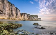 Download wallpapers Normandy, English Channel, coast, rocks, evening, sunset, France