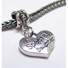 Dangle Heart Charm | Heart Charm w/ Crystal | Special Daughter | Fits Most Charm Bracelets