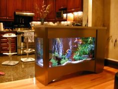 Modern Interior Design With Fish Aquariums THIS IS THE BEST KITCHEN EVER!
