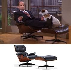Frasier famously sits in the Eames Lounge Chair and Ottoman.