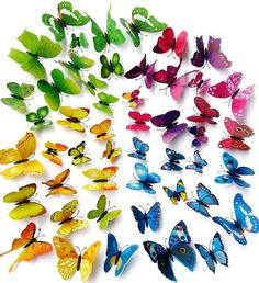 Topix 48PCS 3D Butterfly Stickers Wall Stickers Crafts Butterflies with Sponge Gum and Pins (4 Color)
