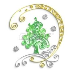 Ornamental design of christmas tree on white background 3d quilling artwork Stock Photo: