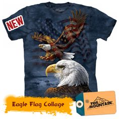 The Mountain Men's Eagle Flag Collage T-Shirt, Blue, X-Large: The Mountain garment dyed eagle flag collage graphic on men's t-shirt Graphic Prints, Graphic Tees, Harley Davidson, Tee Design, Printed Tees, Branded T Shirts, Drake, Classic T Shirts, Tee Shirts