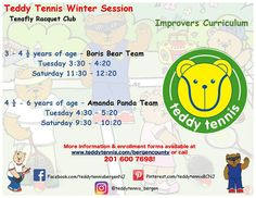 Our Winter class offerings for improvers. Sign up your Cub Cadets today! Online booking is now available! #TeddyTennis #SportMusicFun