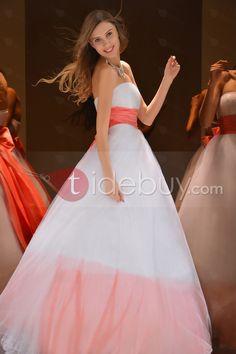 Aラインプロム/カラードレスストラップレス蝶結び飾り床まで届く長さ
