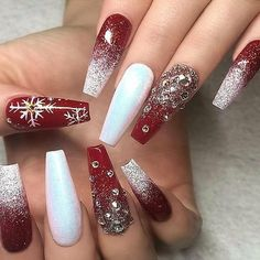 60 Simple Acrylic Coffin Nails Designs Ideas for 2019 - Winter Nails Acrylic - Chistmas Nails, Cute Christmas Nails, Christmas Nail Art Designs, Xmas Nails, Holiday Nails, Christmas Time, Elegant Christmas, Christmas Acrylic Nails, Beautiful Christmas