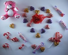 Valentine Gift Box. Bundle of 6: Plush Teddy, Chocolate Hearts, Smarties, Swirl Pop and a Red Rose with a Valentine Bag (Pink) Tucana Trading