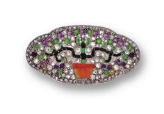 ART DECO DIAMOND AND COLORED STONE BROOCH, FRENCH, CIRCA 1920 - Sotheby's