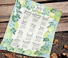 Succulents tea towel calendar by Emilyannstudio