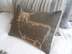 hand printed fringed highland cow