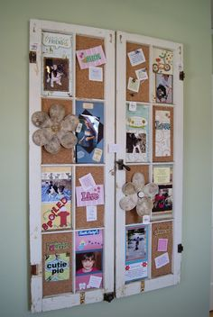 bulletin board - cork attached to old windows