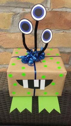 Kreative Geschenkverpackung Monster #diy #giftwrap #kids