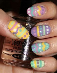 9 Simple Easter Nail Art Designs With Pictures Aztekische Nageldesigns Nail Art Designs, Easter Nail Designs, Easter Nail Art, Holiday Nail Designs, Holiday Nail Art, Simple Nail Designs, Nails Design, Fancy Nails, Love Nails