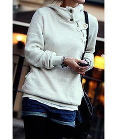 Solid Color Long Sleeve Pockets Design Loose Hoodie For Women