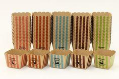クラフトキューブアニマルアソート100枚5色×20枚ベーキングマフィンカップマフィン型パウンドケーキパウンドトレー紙製パウンド型お菓子手作り製菓用品