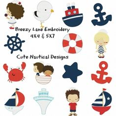 Cute Nautical Machine Embroidery Design Set 4X4 & 5X7 - Breezy Lane Embroidery