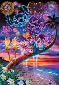 Diamond Painting Lilo & Stitch Full Square/Round Drill Cartoon Mosaic Diamond Embroidery Cross Stitch Kits Wall Painting Home Decor - Wallpaper Cartoon Wallpaper, Disney Phone Wallpaper, Lelo And Stitch, Lilo Et Stitch, Disney Kunst, Disney Art, Image Princesse Disney, Toothless And Stitch, Disney Stich