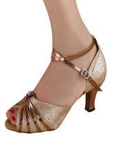 Gold Peep Toe Glitter Latin Dance Sandals Ballroom Shoes