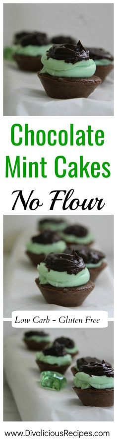 These chocolate mint cakes are flourless and baked from cream cheese. As well as being low in carbs and gluten free they are utterly delicious.