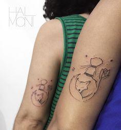 Tatuagens criadas por Lucas Halmont do Espírito Santo. Tatuagem entre irmãs com inspiração no pequeno príncipe.