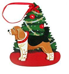 The Christmas Tree Dog Wood 3-D Hand Painted Ornament - Beagle Hound Dog