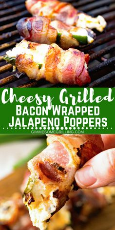 Delicious easygrilled appetizer perfect for a party! These Cheesy Grilled Bacon Wrapped Jalapeno Poppers are always a hit at a party and can be prepped ahead of time to save you time! Throw them on the grill today! Bacon Wrapped Jalepeno Poppers, Grilled Jalapeno Poppers, Jalapeno Popper Recipes, Jalapeno Bacon, Bacon Dip, Grilled Stuffed Jalapenos, Bacon Wrapped Stuffed Jalapenos, Stuffed Jalapeno Peppers, Bacon Appetizers