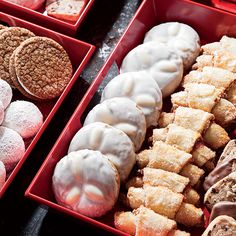 Hausfreunde (buttery almond-apricot sandwich cookies in bittersweet chocolate), Basler Leckerli (an spiced cookie bars are an essential part of a German Christmas), Lebkuchen (traditional delicately spiced German molasses-ginger cookies),  Haselnussmakronen (beautiful raspberry-hazelnut macaroons) and Candy Cookies (truffle-like dipped cookie balls).