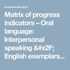 Matrix of progress indicators – Oral language: Interpersonal speaking / English exemplars / The NZ Curriculum Exemplars / Assessment tools & resources / Home - Assessment Assessment, Curriculum, Language, Amp, English, Tools, Resume, Speech And Language, English Language