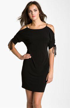 Calvin Klein Split Sleeve Chain Detail Jersey Shift Dress | Nordstrom