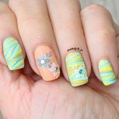 pastel watermarble nail art design