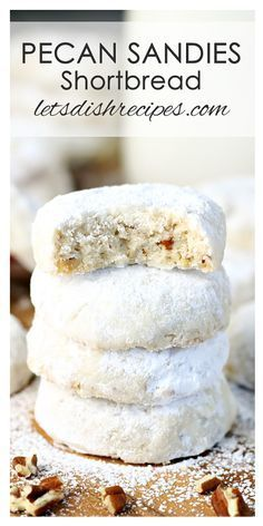 Pecan Sandies Shortbread Cookies Recipe These little powdered sugar-coated cookies are the ultimate Christmas cookie. With the snowy white coating, they are so festive, and you really can't go wrong during the holiday season serving a cookie with two cu Mini Desserts, Cookie Desserts, Christmas Desserts, Just Desserts, Cookie Recipes, Delicious Desserts, Pecan Recipes, Cookie Cakes, Walnut Recipes