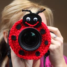 Camera lens buddy. Crochet lens critter ladybug. Photo prop. $14.99, via Etsy.