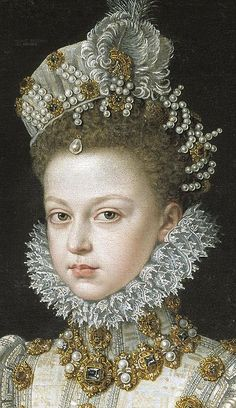 Free art print of Portrait of the Infanta Isabella Clara Eugenia. Detail by Sofonisba Anguissola. Oil on canvas. 116 x 102 cm. Mode Renaissance, Renaissance Kunst, Renaissance Portraits, Renaissance Paintings, Renaissance Fashion, Renaissance Artists, Michelangelo, 16th Century Fashion, 17th Century