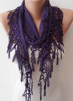 Dark Purple   Lightweight Summer Scarf with Trim by SwedishShop, $12.90