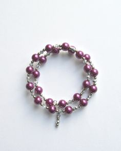 Plum Purple Burgundy Wine Glass pearl and by SparkleandpearlsShop