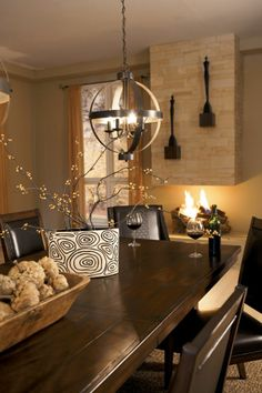 Dining Room Decor, light and table