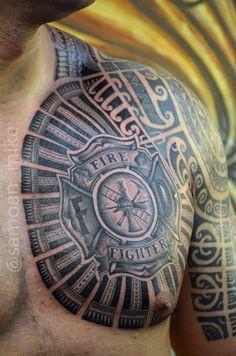Polynesian Tribal, Polynesian Tattoos, Shield Tattoo, Samoan Tattoo, Chest Tattoo, Firefighter, Tatoos, Shoulder, Heart