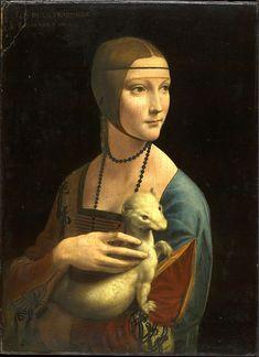 Leonardo da Vinci, Dama de l'ermini. 1488-1490. Oli sobre fusta, 58,8 x 40, 3 cm. Cracòvia: Museu Czartoryski