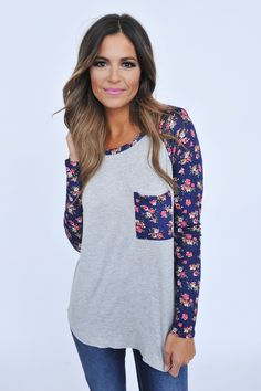 Navy Floral Sleeve Top- Grey - Dottie Couture Boutique
