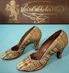 1930's LAIRD SCHOBER & CO Tapestry Persian Motif Heeled Pump Shoes!