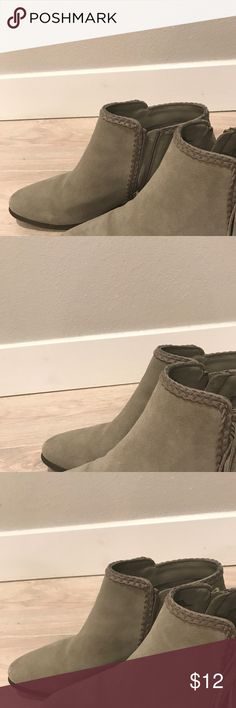 Ankle Boots Grey Suede Size 10 Grey Seude Ankle boots with small brown heels. Used, women's size 10. Shoes Ankle Boots & Booties