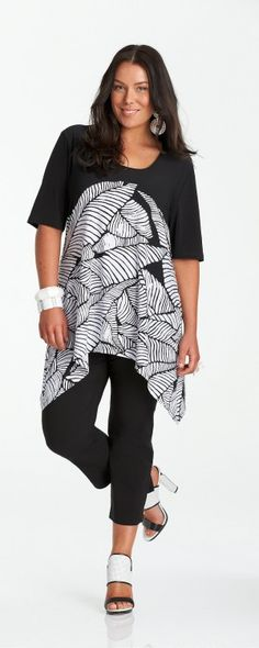 c767ced9703 My Size Leaf Printed Tunic + My Size Leaf Crop pants Plus Size Short Sleeve  Tops