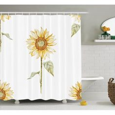 Sunflower Decor Shower Curtain Set, Sunflowers In Watercolor Painting  Effect Minimalistic Design Decorative Artwork,