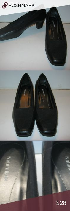 """Naturalizer Black Leather Pumps Size 10 N Women's Naturalizer Slip On Shoes   Black Fabric Leather Uppers   The base of the shoe is a solid leather. The front and top sides are a soft fabric.  2 1/4"""" Heels   Size 10 N  Very nice pre owned condition. Beautiful Shoes. See pictures with zoom  #E Naturalizer Shoes Heels"""