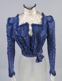 Woman's Bodice    Made in United States  c. 1900    Artist/maker unknown, American    Printed blue silk taffeta, ivory silk  Center Back Length: 15 1/4 inches (38.7 cm)