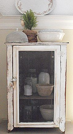 """Rustic Farmhouse - pie safe -would love one of these or an old """"meat safe"""" Farmhouse Cabinets, Diy Kitchen Cabinets, Farmhouse Chic, Vintage Farmhouse, Cupboards, Primitive Furniture, Rustic Furniture, Painted Furniture, Modern Furniture"""