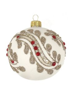 David Jones - Christmas Shop White Bauble With Glittered Leaves
