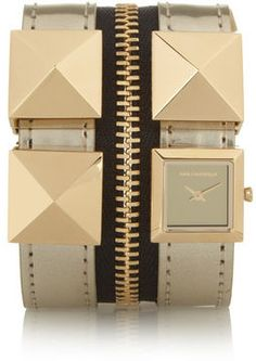 shopstyle.com: Karl Lagerfeld Edge Zip studded leather watch