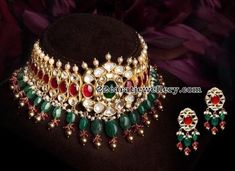 Kundan Ruby Choker with Emerald Drops