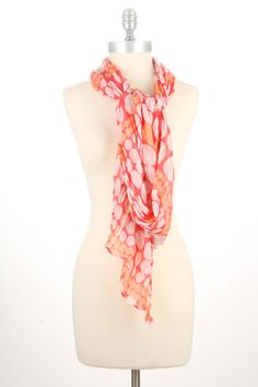 Monsoon Chocolate Marshmallow Scarf In Coral